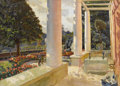 Fine Art - Painting, American, MARY (LOUISE FAIRCHILD) MACMONNIES LOW (American 1866-1946). TheMacMonnies Estate Terrace in Giverny, circa 1888-1909. ...