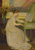 Fine Art - Painting, American:Modern  (1900 1949)  , MARY (LOUISE FAIRCHILD) MACMONNIES LOW (American 1866-1946).Girl Playing the Harpsichord, 1899. Oil on canvas laid onm...