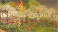 Fine Art - Painting, American, MARY (LOUISE FAIRCHILD) MACMONNIES LOW (American 1866-1946).Giverny Orchard, circa 1888-1909. Oil on canvas laid onmas...