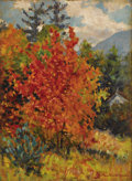 Fine Art - Painting, American:Modern  (1900 1949)  , MARY (LOUISE FAIRCHILD) MACMONNIES LOW (American 1866-1946).Autumn Leaves, circa 1909-1946. Oil on artist's board. 16x...