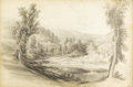 Fine Art - Painting, American:Antique  (Pre 1900), EDWARD SEAGER (American 1809-1886). Tygarts Valley River,1854. Pencil on paper. 11-1/2 x 17-1/4 inches (29.2 x 43.8 cm)...