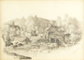 American, EDWARD SEAGER (American 1809-1886). Near Augusta, Maine,1853. Pencil on paper. 11 x 15-3/4 inches (27.9 x 40.0 cm) (win...