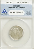 Coins of Hawaii: , 1883 25C Hawaii Quarter--Cleaned--ANACS. XF45 Details. NGC Census:(11/637). PCGS Population (32/1158). Mintage: 500,000. ...