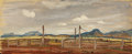 Texas:Early Texas Art - Regionalists, LLOYD GOFF (1908-1982). Untitled West Texas Ranch, late1930s to early 1940s. Oil on paper. 10 x 24 inches (25.4 x 61.0 ...