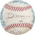 Baseball Collectibles:Balls, Circa 1982 Old-Timers' Day Multi-Signed Baseball from The Ken Aspromonte Collection. ...