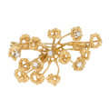 Estate Jewelry:Brooches - Pins, Diamond, Gold Brooch, Depose, French. ...