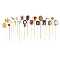 Estate Jewelry:Stick Pins and Hat Pins, Diamond, Multi-Stone, Freshwater Pearl, Mabé Pearl, Micromosaic, Enamel, Glass, Gold, Base Metal Stick Pins. ... (Total: 20 Items)