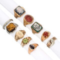 Estate Jewelry:Rings, Gentleman's Diamond, Multi-Stone, Gold Rings. ... (Total: 10 Items)