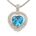 Estate Jewelry:Pendants and Lockets, Blue Topaz, Diamond, White Gold Pendant-Necklace. ...