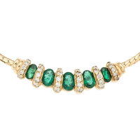 Diamond, Emerald, Gold Necklace
