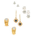 Estate Jewelry:Earrings, Diamond, Multi-Stone, Gold Earrings. ... (Total: 4 Items)