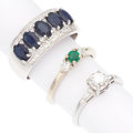 Estate Jewelry:Rings, Diamond, Sapphire, Emerald, White Gold Rings. ... (Total: 3 Items)