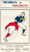 Football Collectibles:Photos, 1905 Michigan vs. Wisconsin Hand-Painted Football Broadside fromHistoric Season....