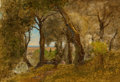 Paintings, George Inness (American, 1825-1894). Olives, Albano, Italy. Oil on canvas. 18-1/4 x 26 inches (46.4 x 66.0 cm). Signed l...