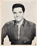 Music Memorabilia:Autographs and Signed Items, Elvis Presley Signed Black and White Photograph....