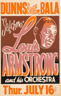 Music Memorabilia:Posters, Louis Armstrong Dunns Pavilion Concert Poster (1959)....