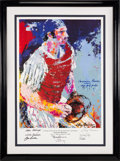 Baseball Collectibles:Others, 1979 Thurman Munson Print by LeRoy Neiman Signed by New York Yankees Legends & Neiman....