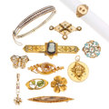Estate Jewelry:Lots, Victorian Diamond, Multi-Stone, Freshwater Pearl, Seed Pearl, Enamel, Glass, Gold Jewelry. ... (Total: 12 Items)