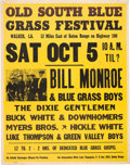Music Memorabilia:Posters, Bill Monroe Old South Bluegrass Festival Concert Poster (circa1968)....