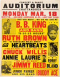 Music Memorabilia:Posters, BB King/Ruth Brown Chattanooga Auditorium Large Concert Poster (1957)....