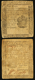 Colonial Notes:Pennsylvania, Pennsylvania April 25, 1776 Two Denominations.. ... (Total: 2notes)