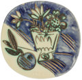 Post-War & Contemporary:Contemporary, Pablo Picasso (1881-1973). Bouquet à la pomme, 1956. Terrede faïence plate, partially glazed and painted. 10-1/4 inches...