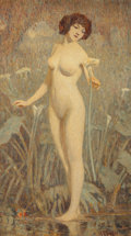 Fine Art - Painting, American:Modern  (1900 1949)  , Clarence K. Hinkle (American, 1880-1960). Nude. Oil oncanvas. 28 x 16 inches (71.1 x 40.6 cm). Signed lower right:C....