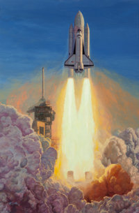 Mort Künstler (American, b. 1931) Launch of the Space Shuttle Columbia, April 12, 1981, 7:00:10 EST from John F