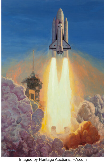 Mort Künstler (American, b. 1931) Launch of the Space Shuttle Columbia, April 12, 1981, 7:00:10 EST from John F. Kennedy ...