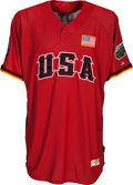 Baseball Collectibles:Uniforms, 2006 Gary Carter Game Worn Team USA Futures Jersey & Shower Shoes from The Gary Carter Collection. ...