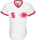Baseball Collectibles:Uniforms, 1982 Johnny Bench Game Worn & Signed Cincinnati Reds Jersey from The Gary Carter Collection....