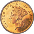 Proof Three Dollar Gold Pieces, 1876 $3 PR65 Deep Cameo PCGS. CAC....