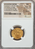 Ancients:Byzantine, Ancients: Constans II (641-668). AV solidus (4.36 gm). NGC MS 4/5 - 4/5, clipped....
