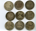 Mexico, Mexico: Lot of Nine Colonial 8 Reales Coins,... (Total: 9 coins)