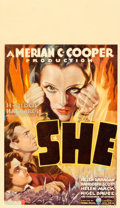 "Movie Posters:Fantasy, She (RKO, 1935). Midget Window Card (8"" X 14"").. ..."
