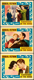 "Movie Posters:Mystery, Footsteps in the Dark (Warner Brothers, 1941). Lobby Card (3) (11""X 14"").. ... (Total: 3 Items)"