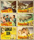"Movie Posters:Action, Gunga Din (RKO, R-1942). Title Lobby Card & Lobby Cards (5)(11"" X 14"").. ... (Total: 6 Items)"