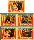 "Movie Posters:Western, Virginia City (Warner Brothers, 1940). Linen Finish Lobby Cards (5)(11"" X 14"").. ... (Total: 5 Items)"