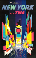 "Movie Posters:Miscellaneous, TWA New York Travel Poster (1958). David Klein Full-Bleed Poster(25"" X 40"") Prop Plane Style.. ..."