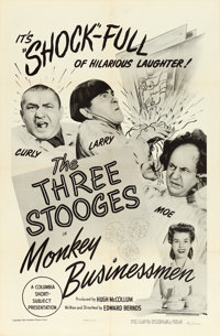 "The Three Stooges in Monkey Businessmen (Columbia, 1946). One Sheet (27"" X 41""). Comedy"