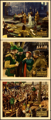 """The Adventures of Robin Hood (Warner Brothers, 1938). Linen Finish Lobby Cards (3) (11"""" X 14""""). ... (Total: 3..."""