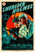 "The Adventures of Sherlock Holmes (20th Century Fox, Mid 1940s). First Post-War Release French Half Grande (31.5"" X..."