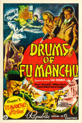 "Movie Posters:Serial, Drums of Fu Manchu (Republic, 1940). One Sheet (27"" X 41"") Chapter1 -- "" Fu Manchu Strikes."". ..."