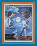 "Baseball Collectibles:Others, 1986 ""Dynamic Duo"" Print Signed by Gary Carter & DwightGooden from The Gary Carter Collection...."