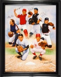 Baseball Collectibles:Others, 2000 Legendary Catchers Signed Print on Canvas from The Gary CarterCollection....
