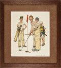 "Golf Collectibles:Art, 1970's ""Four Sporting Boys: Golf"" Print Signed by NormanRockwell from The Gary Carter Collection. ..."