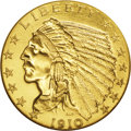 Proof Indian Quarter Eagles: , 1910 $2 1/2 PR66 NGC. The mintage figure of 682 coins seems to bearno relation to reality: This issue is seen far less oft...