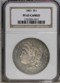Proof Morgan Dollars: , 1883 $1 PR63 Cameo NGC. Fully struck with complete details in the hair above Liberty's ear an...