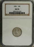 Seated Dimes: , 1851 10C AU55 NGC. NGC Census: (3/41). PCGS Population (0/29).Mintage: 1,026,500. Numismedia Wsl. Price: $170. (#4595)...