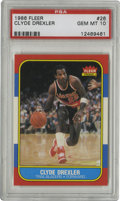 Basketball Cards:Singles (1980-Now), 1986-87 Fleer Clyde Drexler #26 PSA Gem Mint 10. With nary a flaw to be observed, the current offering consists of a stunni...
